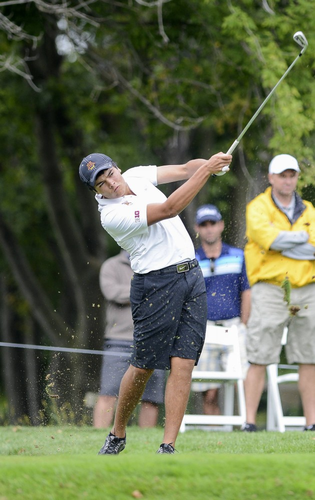 Minnesotas Jose Mendez plays at the 2013 Gopher Invitational at Windsong Farm Golf Club Sept. 8, 2013.
