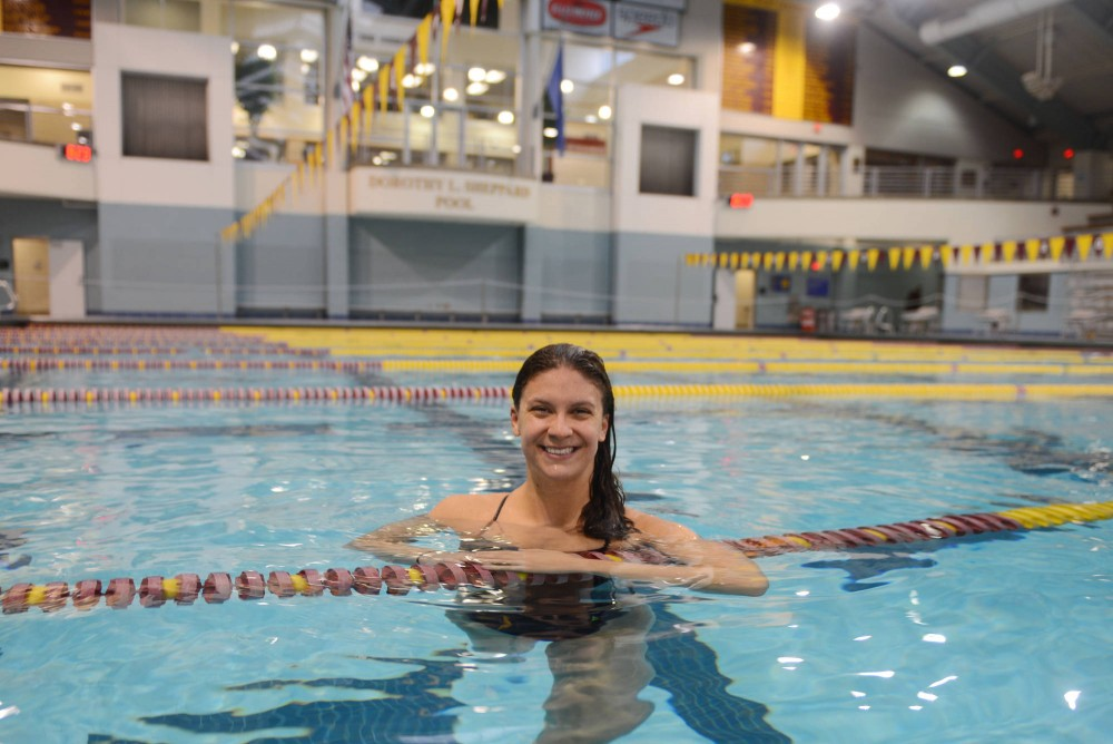 Senior Rebecca Weiland in the Jean K. Freeman Aquatic Center after practice on Monday afternoon. Weiland accepted a position as a graduate assistant at St. Cloud State.