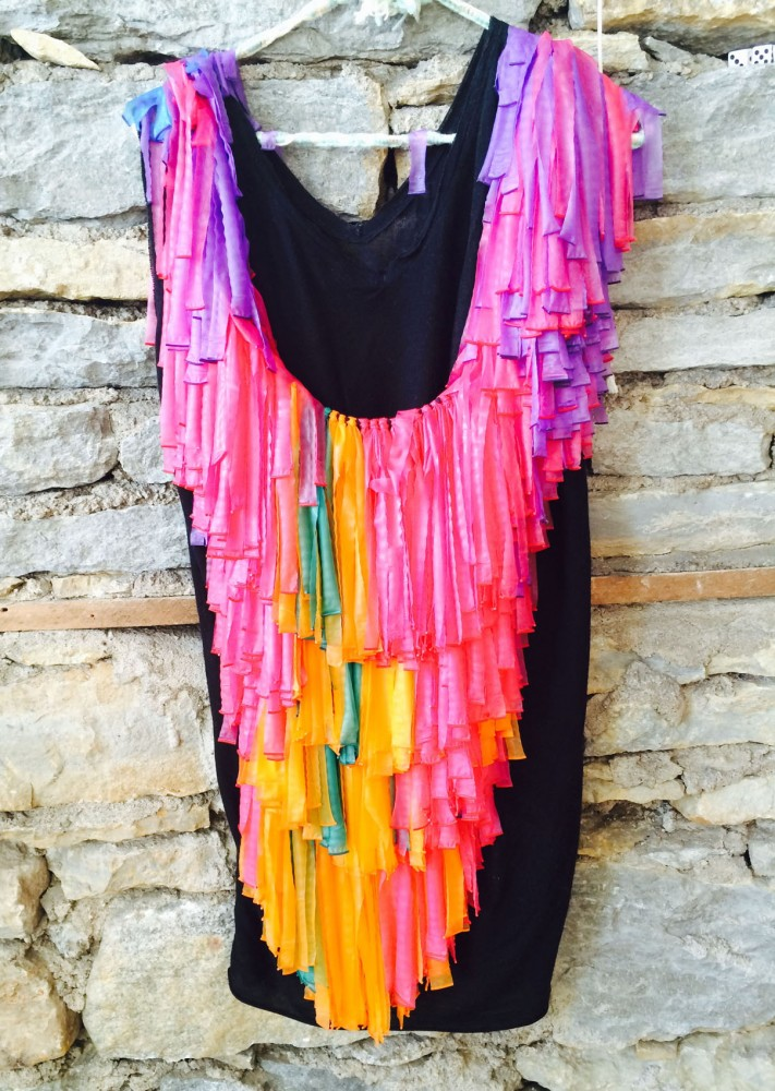 A Mardi Gras-inspired, multi-fringed chest piece by Anna Chambers-Goldberg's line
