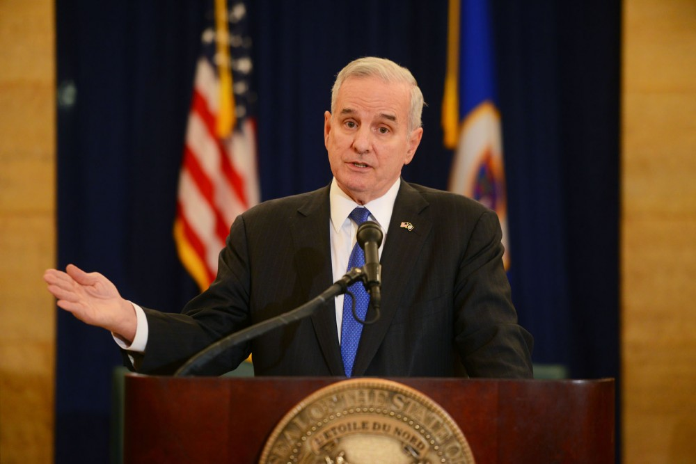 Gov. Mark Dayton addresses the state's budget for the next biennium and how he plans to use the $1.9 billion surplus at the Capitol on Friday.