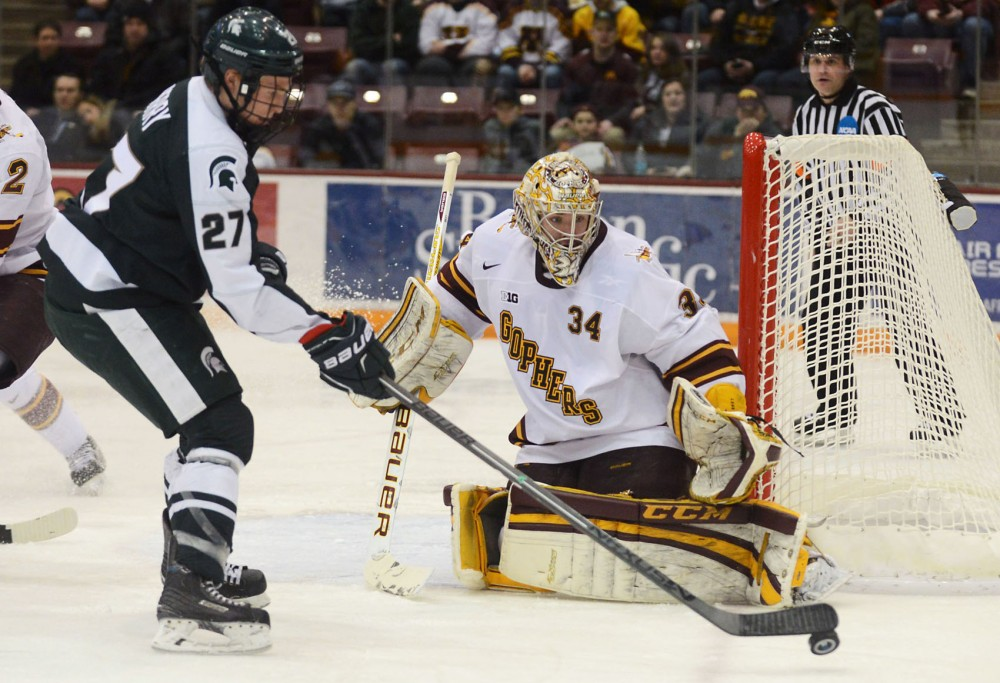 Minnesota goalie Nick Lehr guards the net in the second period against Michigan State at Mariucci Arena on Thursday.  Minnesota beat Michigan State 5-3.