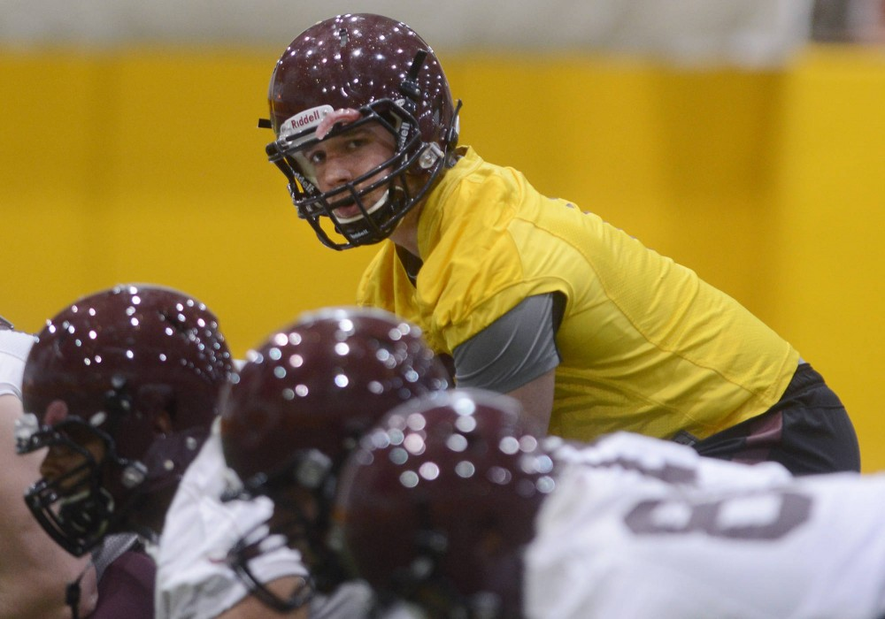Gophers quarterback Mitch Leidner practices in the Gibson-Nagurski Football Complex on Tuesday afternoon during the Gophers' first spring practice.