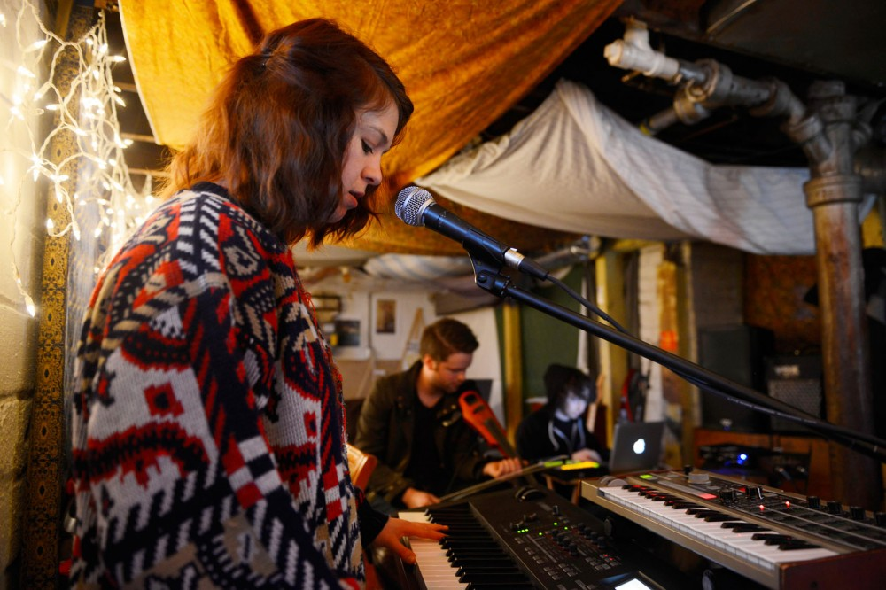 Ranelle Johnson, Alex Galle and Nathaniel Bates of Bae Tigre rehearse in their basement practice space on Sunday. Bae Tigre are an indie-electro group from Minneapolis and will be playing a show this Saturday March 14th at the Triple Rock Social Club