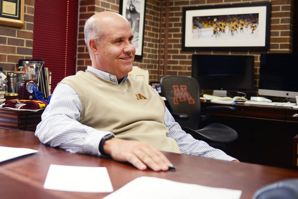 Gopers athletics director Norwood Teague answers questions in his office at the Bierman Field Athletic Building on Sept. 18.