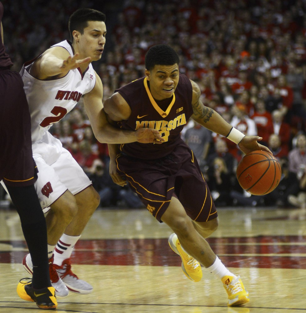 Minnesota guard Nate Mason drives the ball to the basket in the second half against the Badgers on Feb. 21 in Madison, Wis.