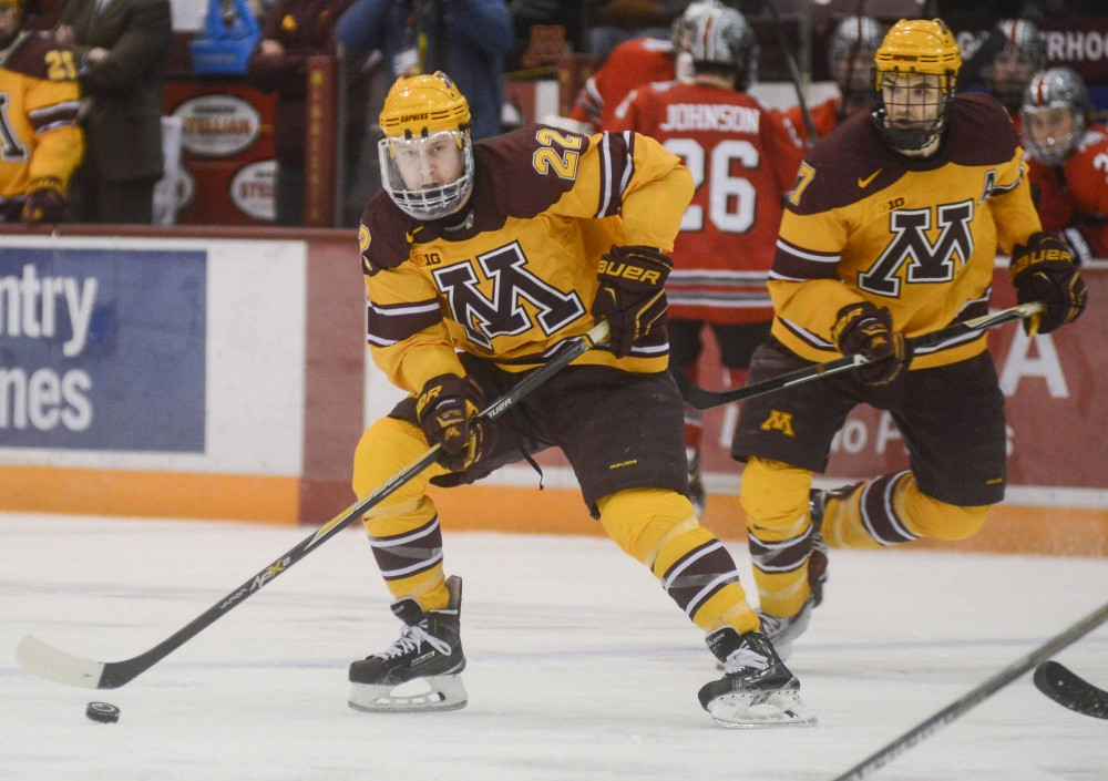 Gophers forward Travis Boyd handles the puck at Mariucci Arena on Feb. 7.