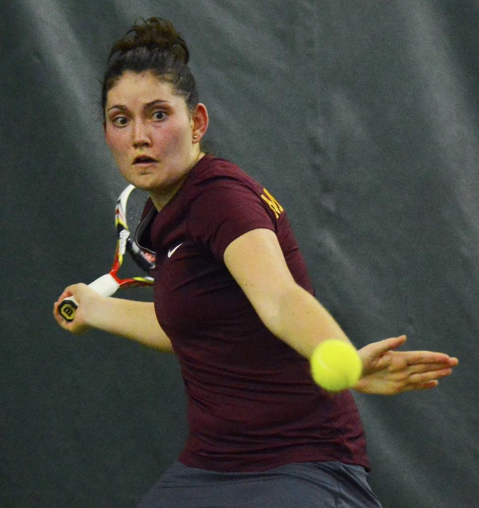 Senior Tereza Brichacova plays against Drake on Friday, Feb. 20 at Baseline Tennis Center.