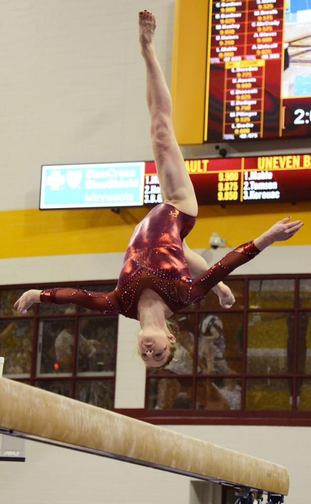 Junior Lindsay Mable during her performance on the balance beam on Feb. 28 at the Sports Pavillon.