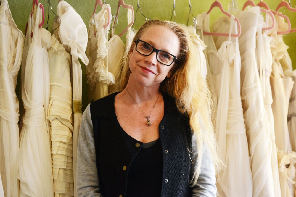 Designer Joy Teiken poses at Joynoelle Showroom on Friday afternoon. Teiken is currently working on her avant garde spring line that will show on June 2nd.