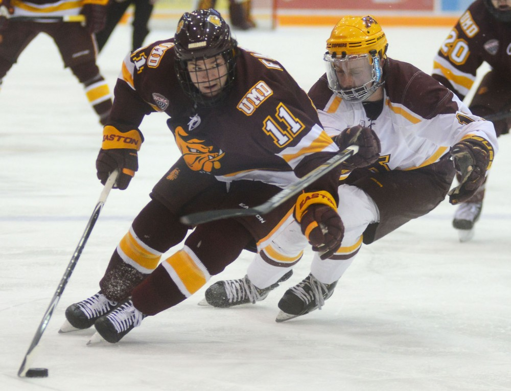 Forward Sam Warning fights for control of the puck against Duluth's Austin Farley on Nov. 14, 2014 at Mariucci Arena.