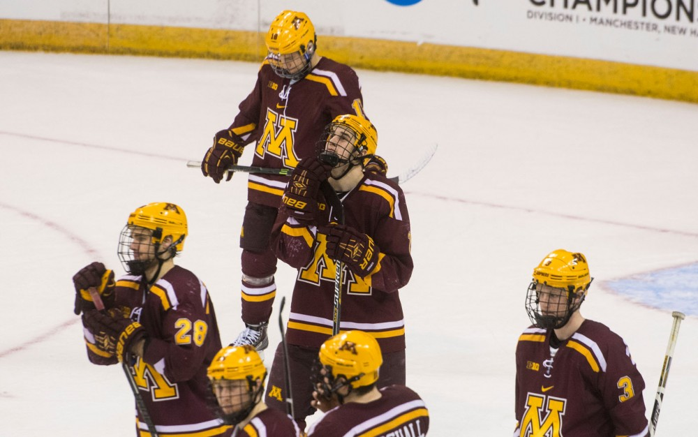 Minnesota ends their 2014-15 season in the NCAA tournament after losing to the Bulldogs 4-1 Friday night in Manchester, NH. The Gophers finished with a 23-13-3 overall record.