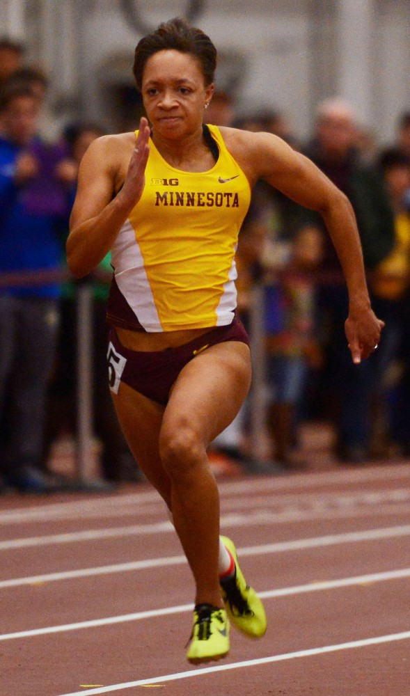Minnesota's Erin Hawkins competes in the 60-meter dash finals on Jan. 31 at the University Fieldhouse.