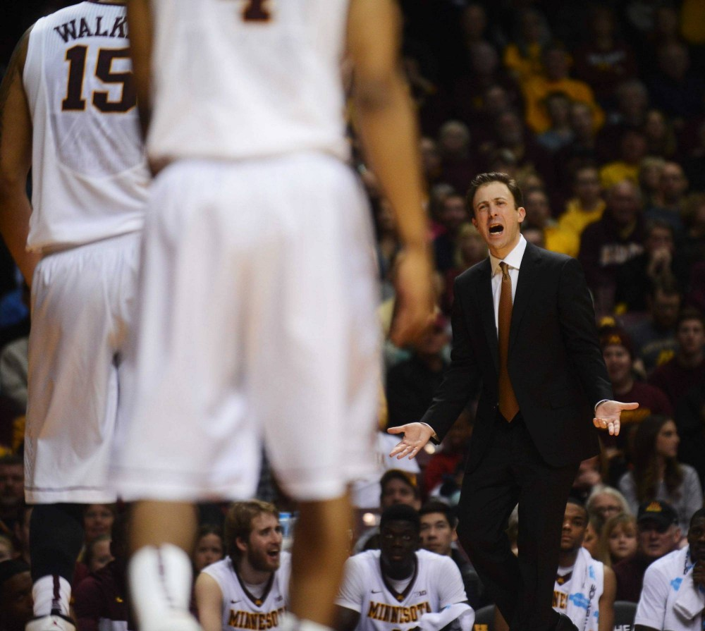 Minnesota Head Coach Richard Pitino disappointedly yells to his team in the first half against Penn State at Williams Arena on Sunday.
