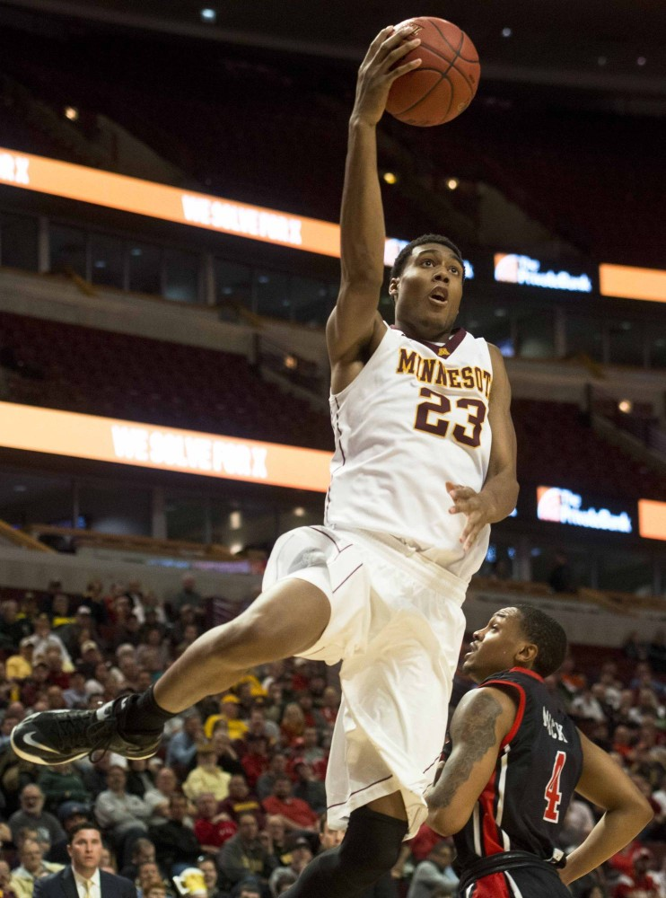 Minnesota's Charles Buggs shoots a layup during the second half against Rutgers at the men's Big Ten tournament in Chicago on Wednesday.