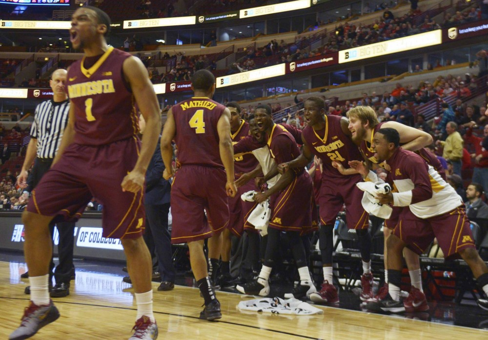 Minnesota reacts to DeAndre Mathieu's basket with two minutes left in the game against Ohio State in the Big Ten tournament on Thursday in Chicago.