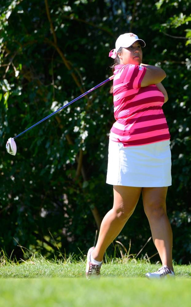 Anna Laorr swings at the Minikahda Club on Sept. 16, 2014, at the Minnesota Invitational.