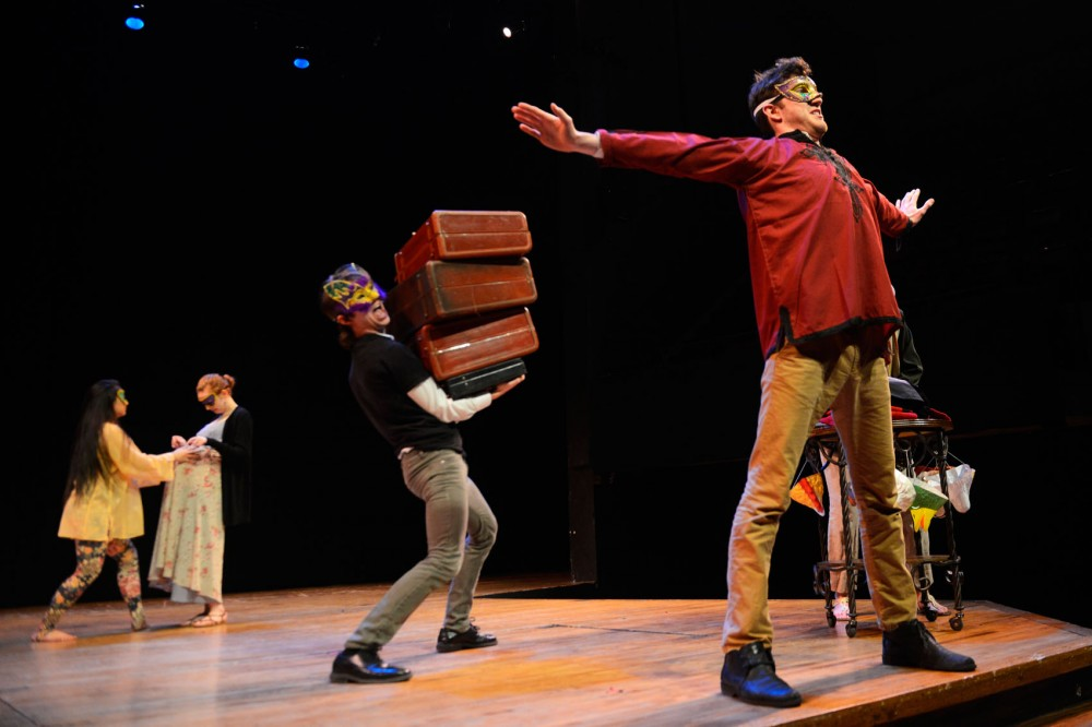Theatre BFA students rehearse for Shakespeares Comedy of Errors in the Rarig Center on Monday. Opening April 2 and running through April 7, the Universitys BFA program will alternate productions of the Taming of the Shrew and Comedy of Errors.