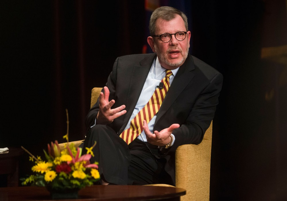 University President Eric Kaler answers questions following his State of the University address at Coffman Union's theater on Thursday.