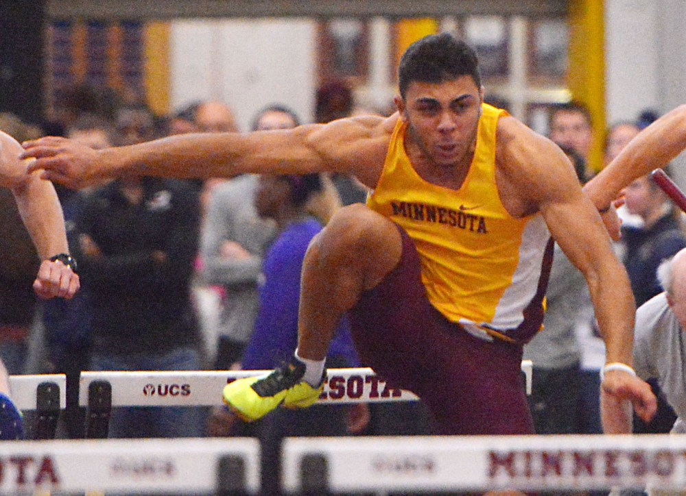 Minnesota's Luca Wieland competes in hurdles on Jan. 18, 2014, at the University Field House.