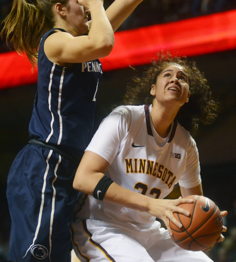 Redshirt sophomore center Amanda Zahui B. looks to go up for a shot against Penn State at Williams Arena on Jan. 28.