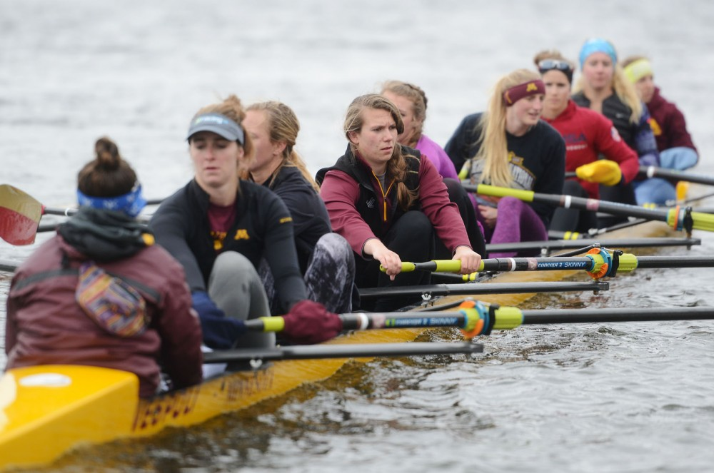Senior Lynn Hodnett practices with the rowing team on March 23 in the Mississippi River.