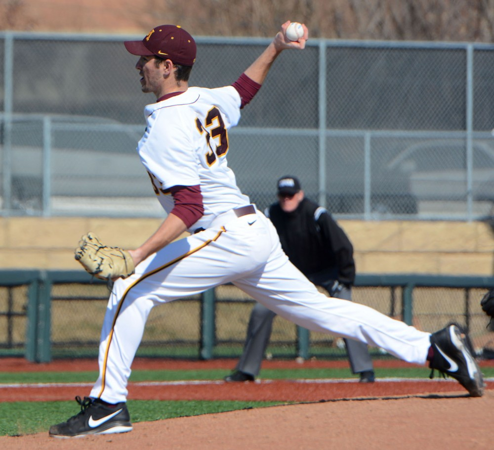 Pitcher Toby Anderson pitches the ball during a game against Northwestern at Siebert Field on March 28.