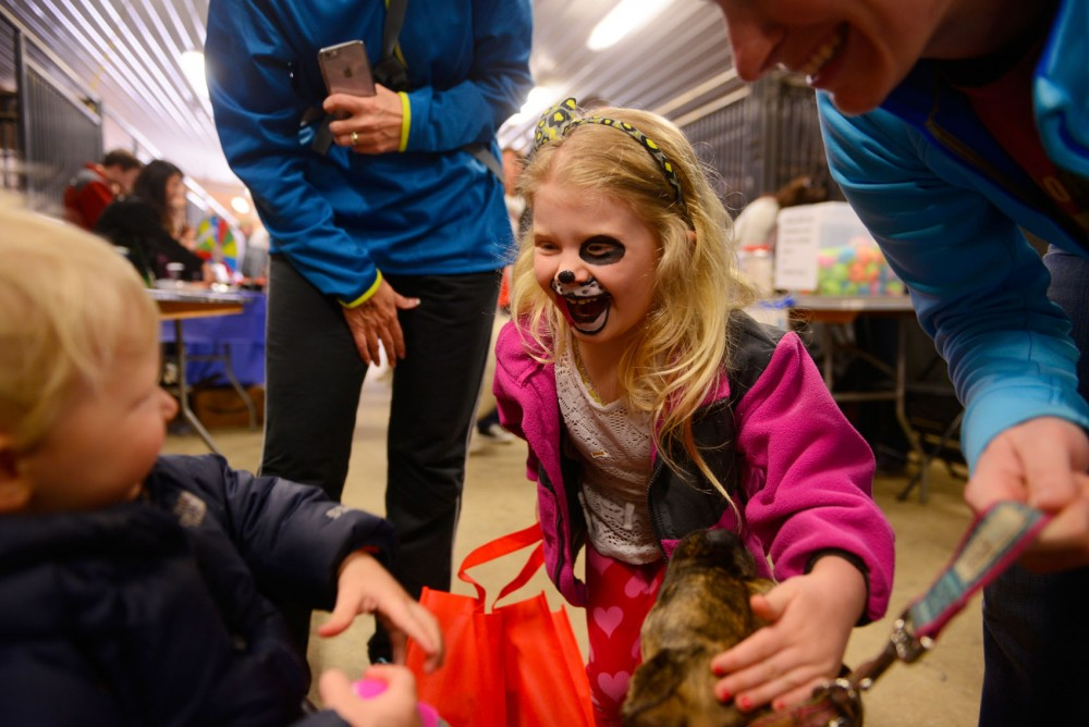 Four-year-old Sophia Thill shows her freshly-painted puppy face to her younger brother at the University's College of Veterinary Medicine's annual Dog Olympics.