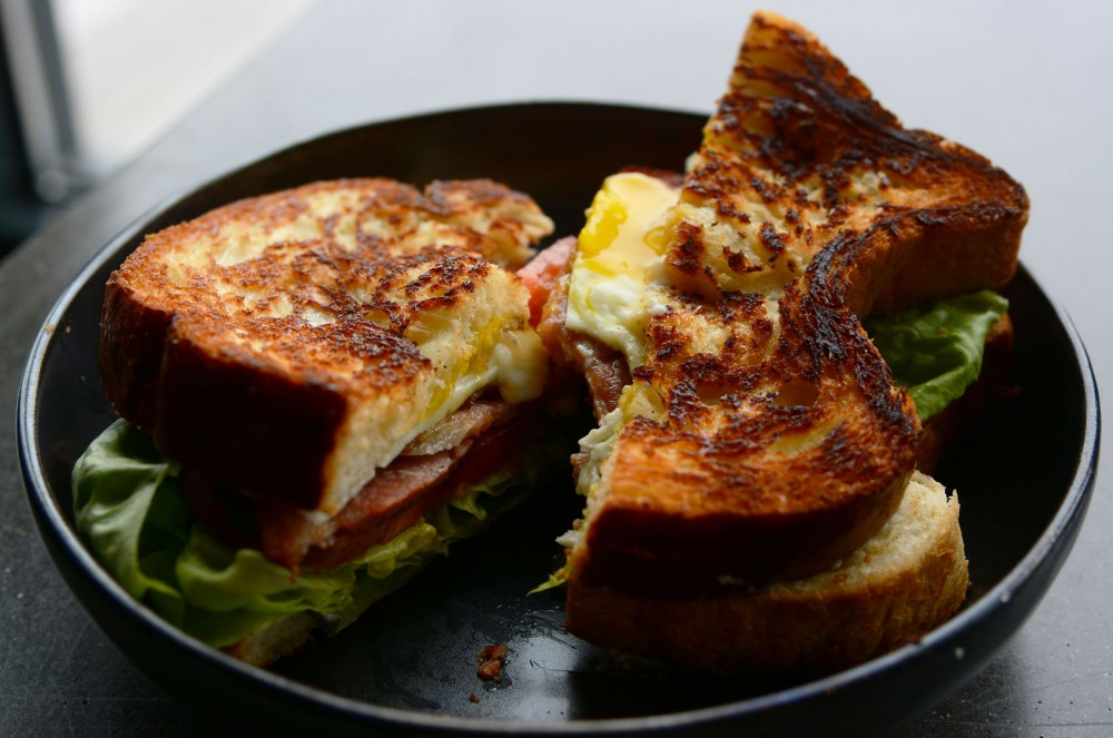 Look to upgrade your normal BLT with a bacon weave and fried egg.