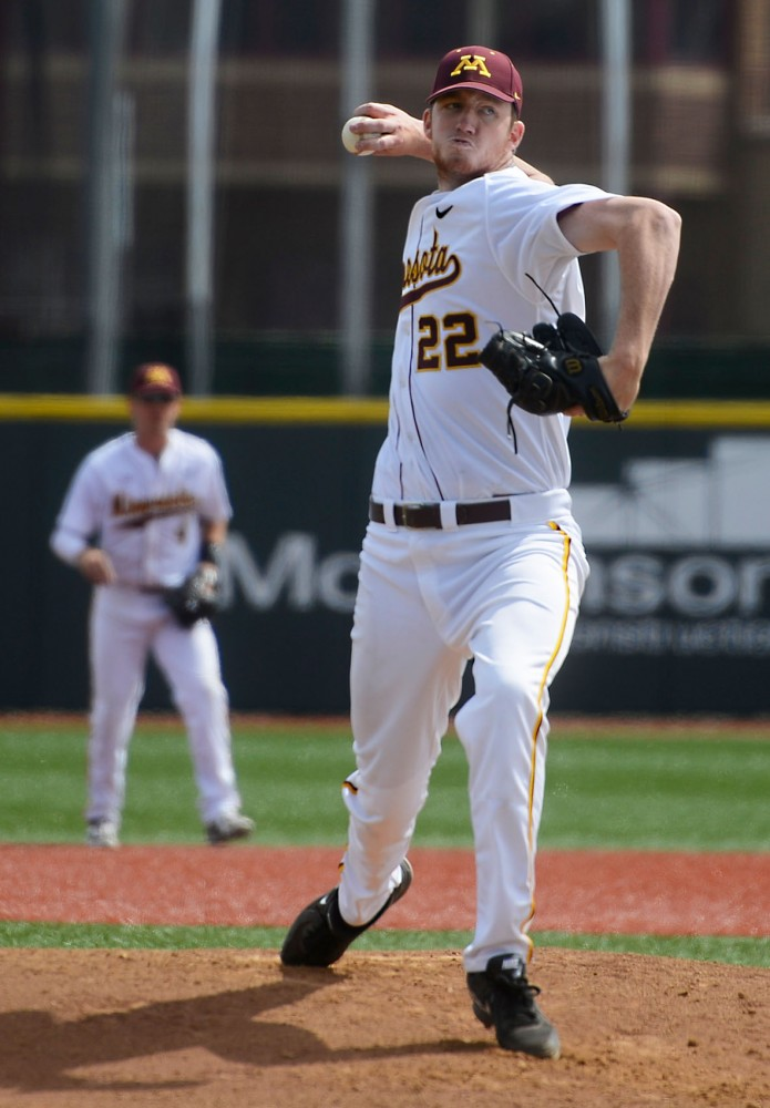 Redshirt Sophomore Tim Shannon pitches the ball at Siebert Field on Saturday afternoon against Penn State.