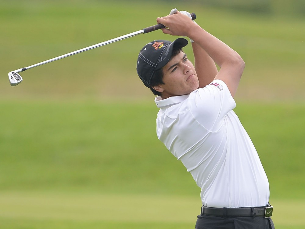 Minnesota's Jose Mendez plays at the season-opening Gopher Invitational at Windsong Farm Golf Club on Sept. 9, 2013.