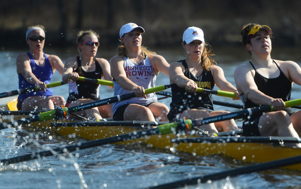 University rowing team practices on the Mississippi River on April 14.