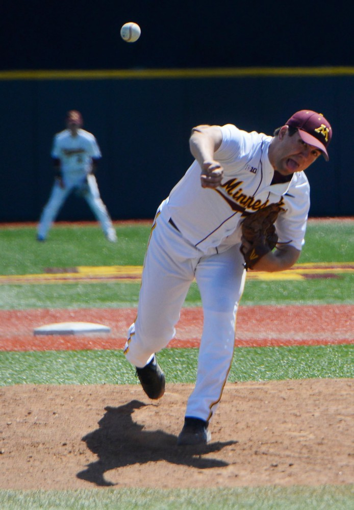 Freshman Fred Manke delivers a pitch on Sunday afternoon at Siebert Field.