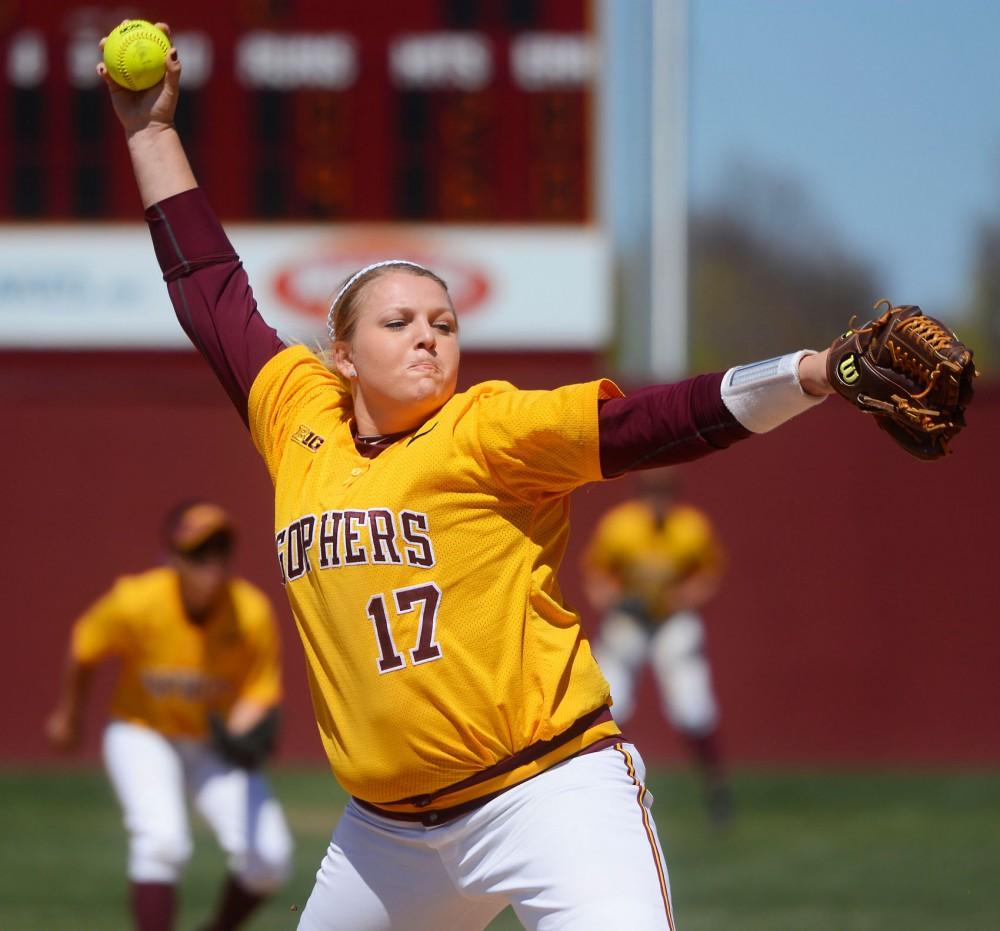Gophers pitcher Sara Groenewegen throws a strike against Iowa at Jane Sage Cowles Stadium on Sunday.