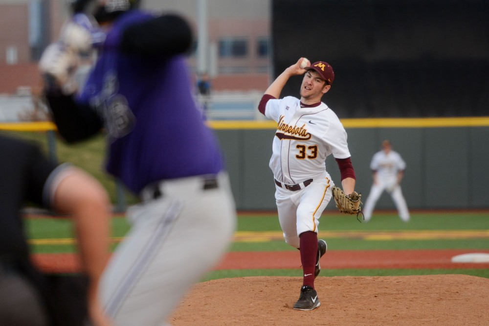 Gophers pitcher Toby Anderson throws the ball against Kansas State at Siebert Field on Tuesday, April 28th. Anderson pitched 6 and 1/3 innings before allowing a hit.