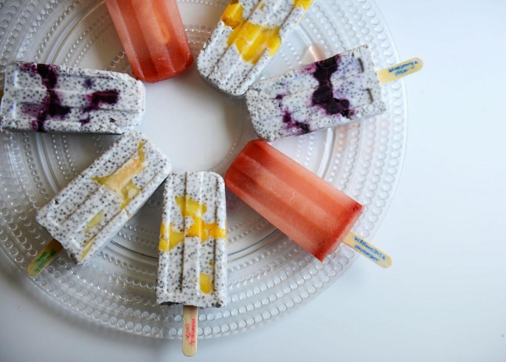 An assortment of frozen, refreshing popsicles.