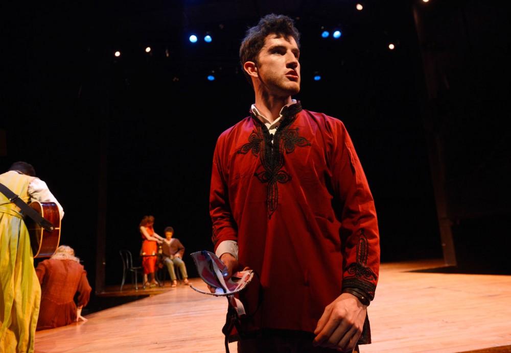 Theatre BFA student Benjamin Shaw rehearses for Shakespeare's
