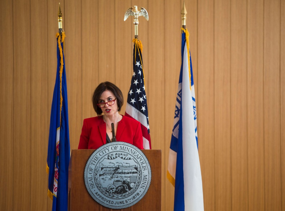 Mayor Betsy Hodges gives her second State of the City address at the American Swedish Institute on Thursday.