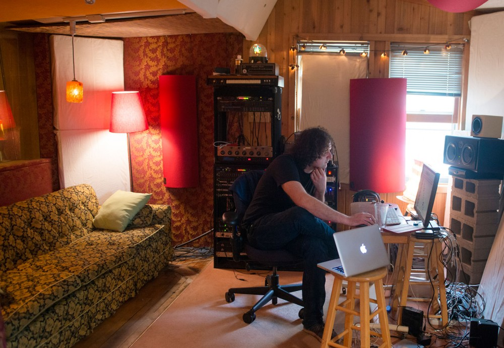 Minneapolis-based sound engineer Neil Weir finishes up work on the upcoming Chambermaids album in the control room of Old Blackberry Way studio on Wednesday.