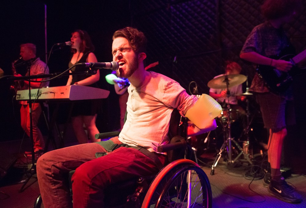 Lead vocalist Gabriel Rodreick belts out lyrics during Treading North's set at Triple Rock Social Club on Friday night in Minneapolis.