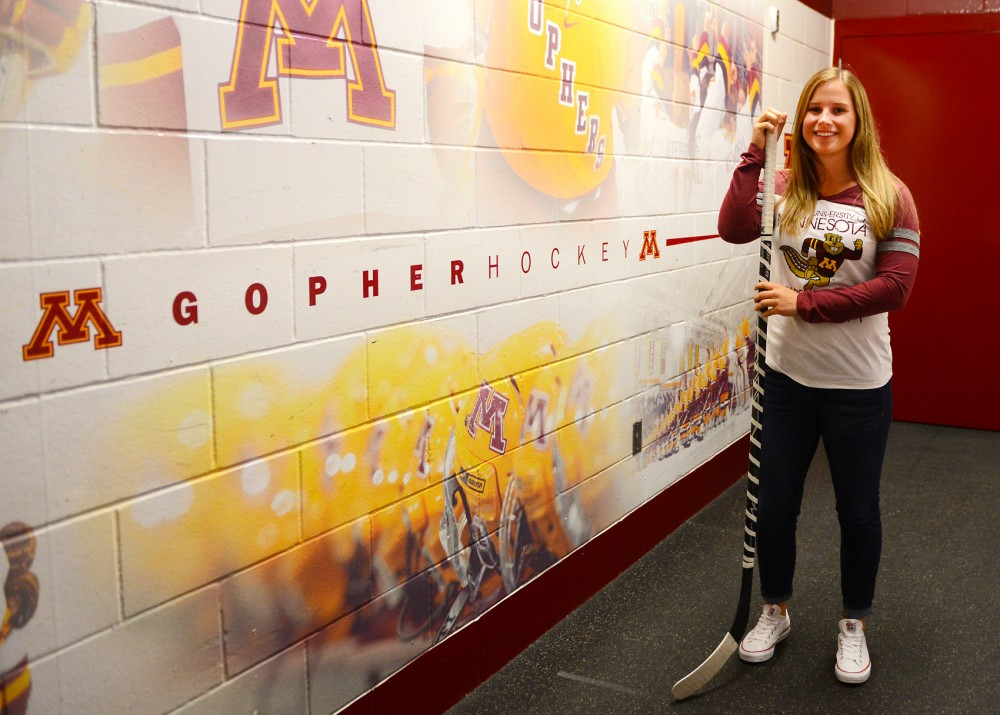 Sophomore Nicole Schammel poses in Ridder Arena on Sunday. Schammel is transferring from Minnesota State Mankato this year to join the Gopher Hockey team as a forward.