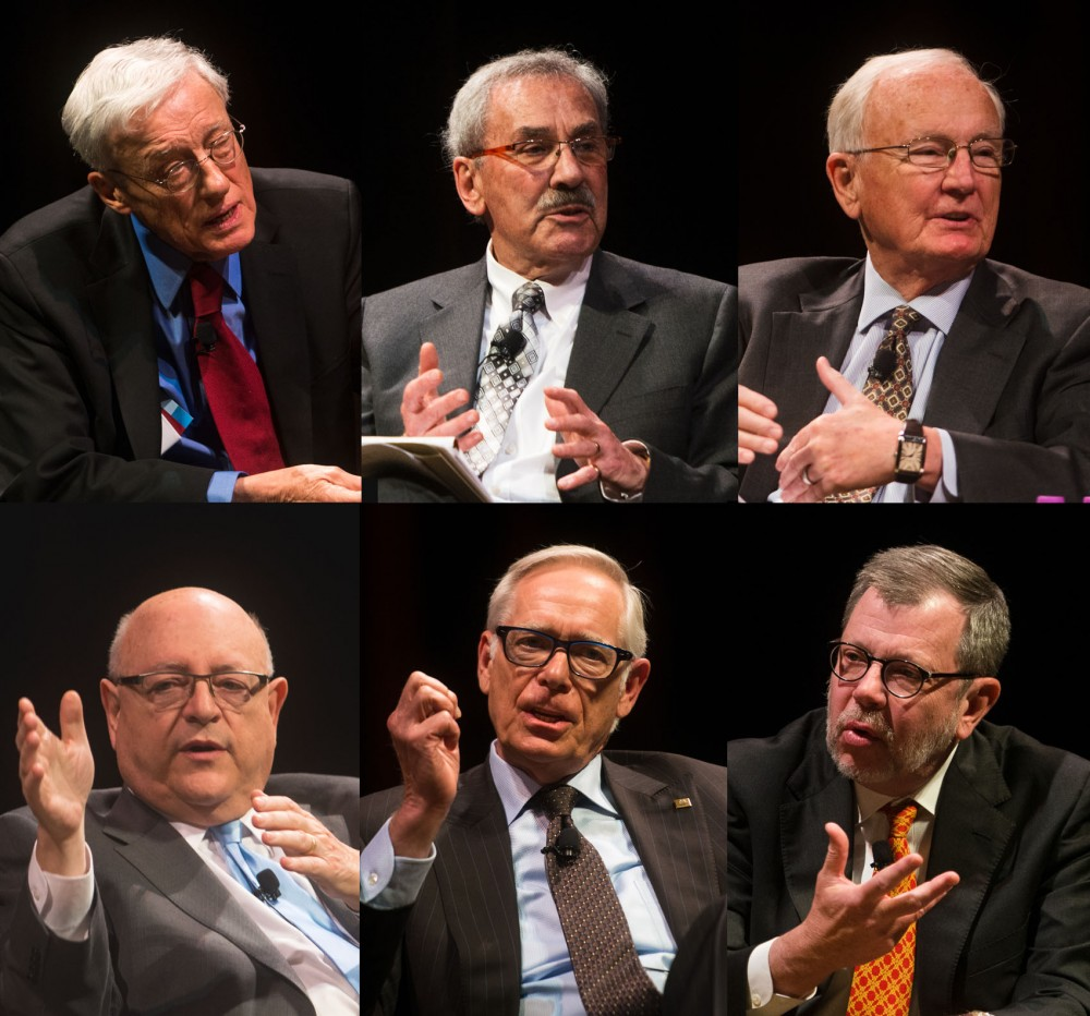 "<p>Former University presidents (from left) Peter Magrath, Kenneth Keller, Nils Hasselmo, (below) Mark Yudof, Robert Bruininks and current University president Eric Kaler speak at the Northrop during ""Six Presidents. Four Decades of Leadership. One University"" on Monday.</p>"