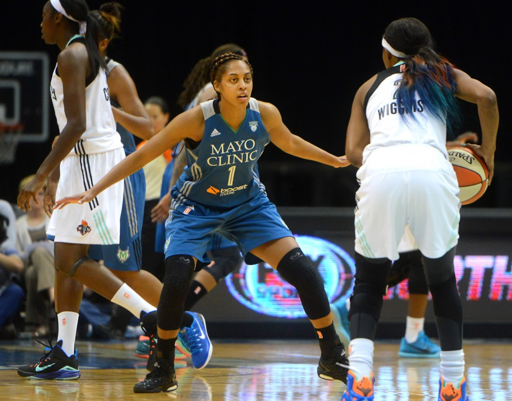 Former Gopher forward Shae Kelley guards against New York Libertys Candice Wiggins in a pre-season game at Target Center on Monday.