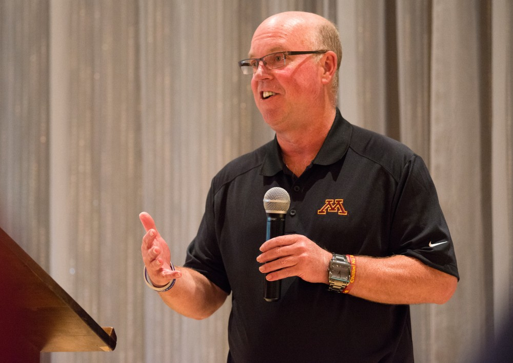 Gopher football coach Jerry Kill speaks at the last leg of the Gopher Road Trip: Chalk Talk at the Crow River Golf Club in Hutchinson, Minnesota on Wednesday, June 3.
