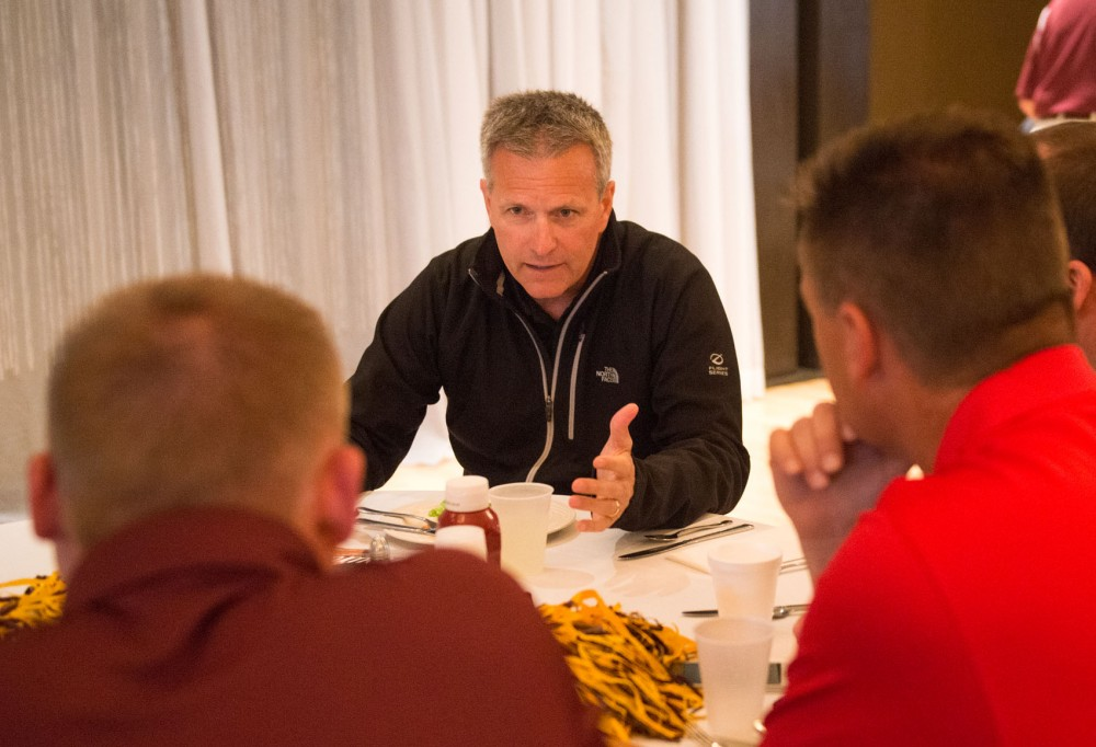 Gophers men's hockey coach Don Lucia sits down to talk with Hutchinson locals at the last leg of the Gopher Road Trip: Chalk Talk at the Crow River Golf Club in Hutchinson, Minnesota on Wednesday, June 3.