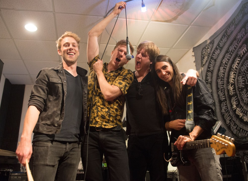 Local indie-pop band Step Rockets poses in their rehearsal space in Minneapolis on June 25. The band will headline a show at Mill City Museum on July 4.