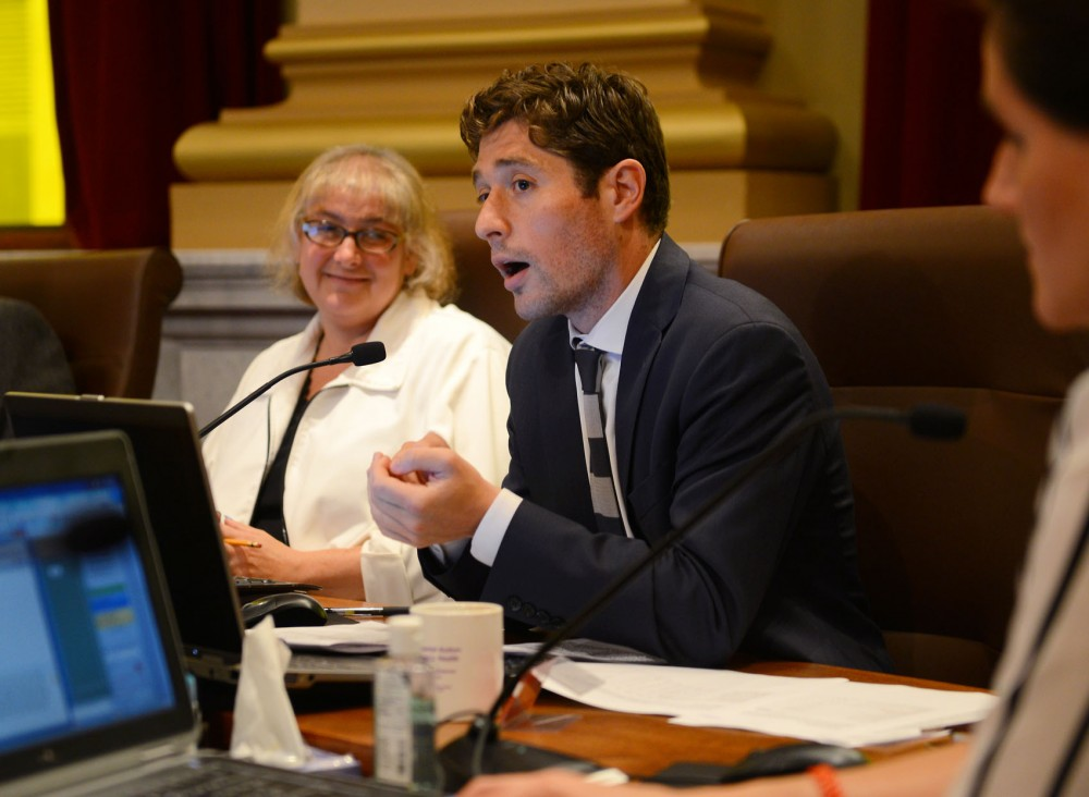 Minneapolis City Councilman Jacob Frey speaks at a city council meeting at City Hall on Friday, July 10.