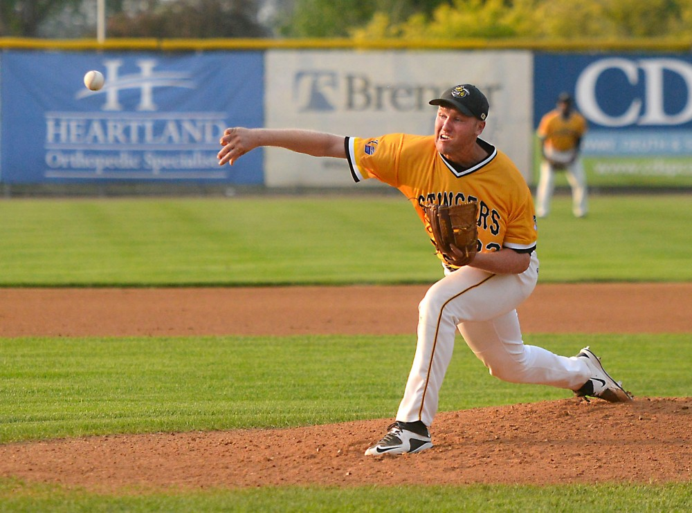 Tyler Hanson pitches for the Willmar Stingers in a game against the Rochester Honkers at the Bill Taunton Stadium on Friday, July 9. Hanson, who finished his second season for the Gophers last spring, joined the Northwoods League in order to continue playing baseball this summer.