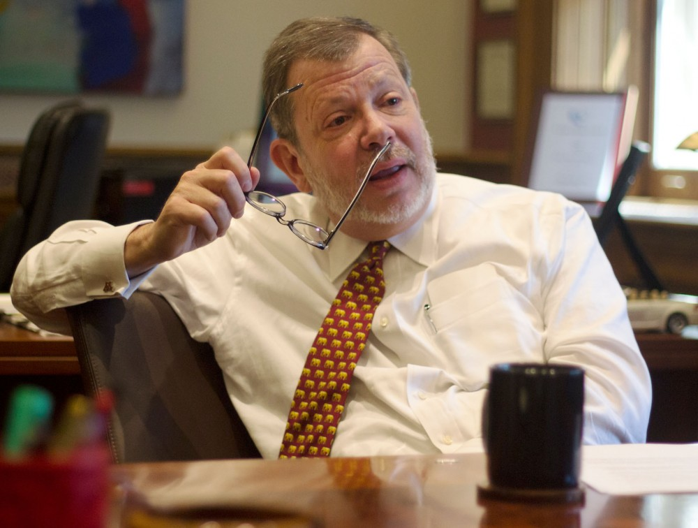 University president Eric Kaler sits in his office in Morrill Hall on Friday.