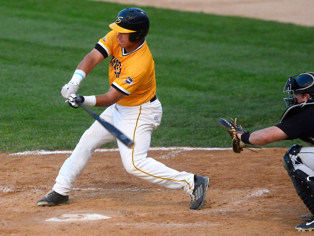 Eddie Estrada bats for the Northwoods Leagues Willmar Stingers in a game against the Rochester Honkers at the Bill Taunton Stadium in Willmar, Minn., on July 9, 2015. Estrada will be entering his first season with the Gophers this fall.