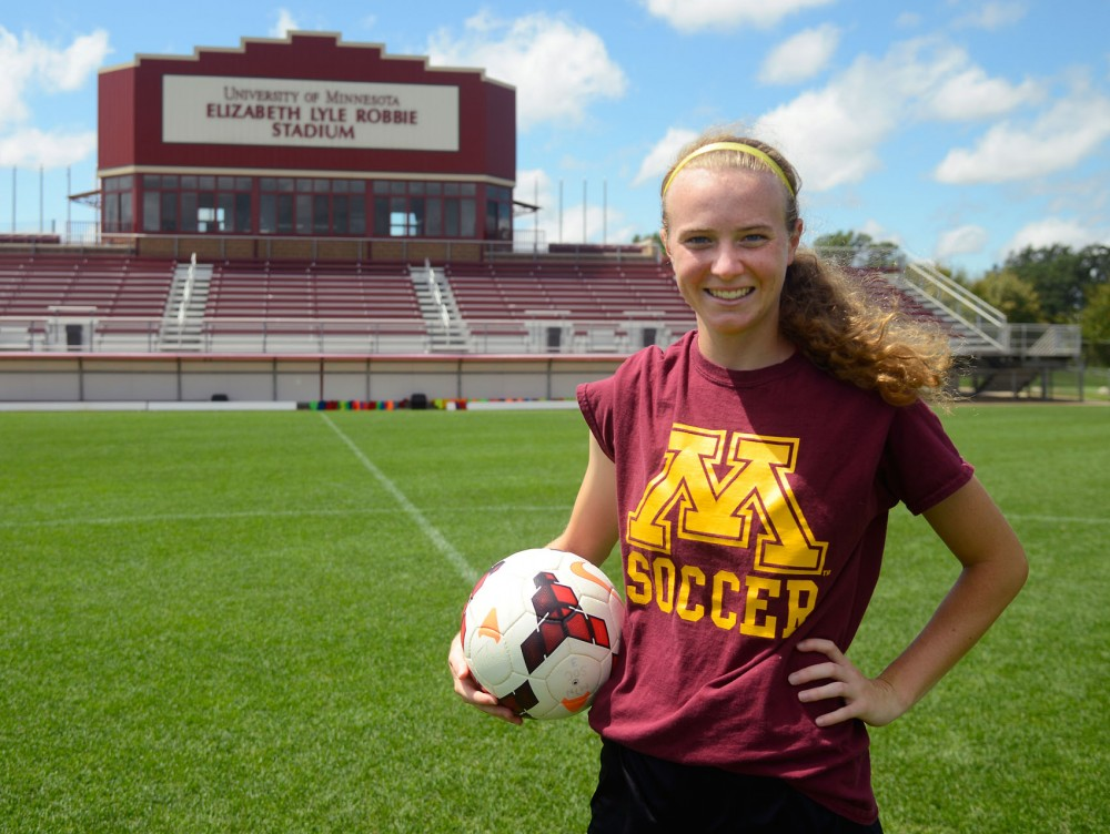 Freshman forward April Bockin poses at the Elizabeth Lyle Robbie Stadium in St. Paul on July 28, 2015.